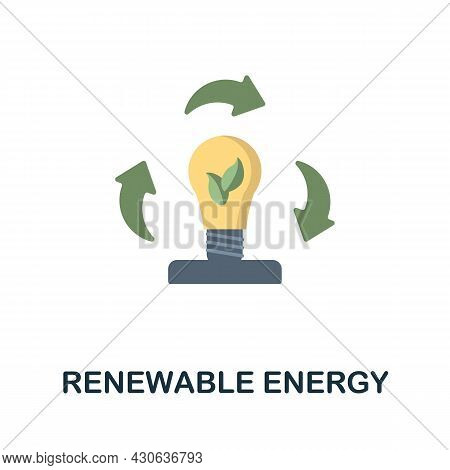 Renewable Energy Flat Icon. Colored Sign From Futurictic Technology Collection. Creative Renewable E
