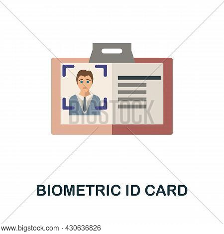 Biometric Id Card Flat Icon. Colored Sign From Futurictic Technology Collection. Creative Biometric
