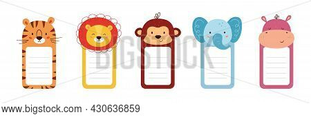 Set Of Note Paper Decorated Animal Heads. Cute Animals Sheet Templates For Diary, Timetable, Memo. B
