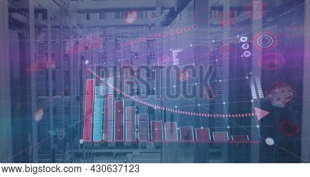 Image of digital interface with graph and coronavirus cells over server room. Global digital network technology security concept digitally generated image.
