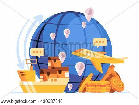 Blue Globe With Icon Of Shipping, Plane, Dollar Currency, Global Trading Between Countries Make The