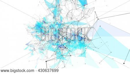 Image of digital interface with network of connections, world map and graph on white background. Global digital network technology concept digitally generated image.