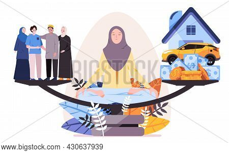 The Woman With Hijab Behind Of The Scale To See Balancing Between Work, Home, Money, Vehicle With Fa