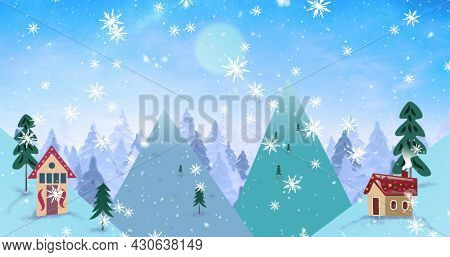 Image of silhouette of winter christmas scenery with snow falling and full moon seen through window. christmas festivity celebration concept digitally generated image.