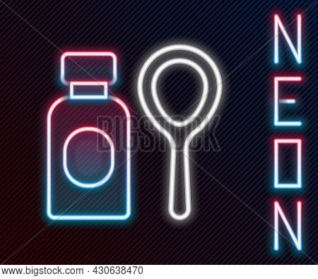 Glowing Neon Line Soap Bubbles Bottle Icon Isolated On Black Background. Blowing Bubbles Soap Wand B