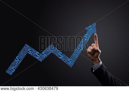 Businessman Hold Drawing On Screen Growing Graph, Arrow Of Positive Growth Icon.pointing At Creative