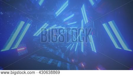 Image of digital interface with floating icons and circles over digital tunnel. Global digital network technology concept digitally generated image.