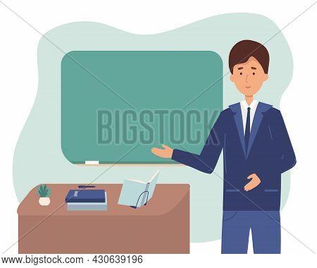 Male Professor, Teacher. Teacher Teacher Showing On Board. Vector Illustration, Cartoon, Flat. Colle