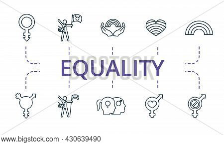 Equality Icon Set. Contains Editable Icons Theme Such As Pride Parade, Transgender, Sexual Orientati