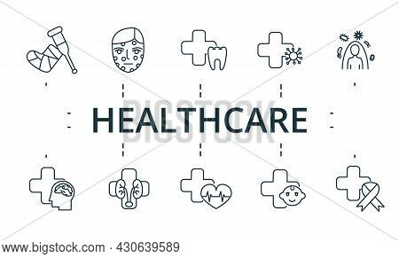 Healthcare Icon Set. Contains Editable Icons Theme Such As Dermatology, Oncology, Cardiology And Mor