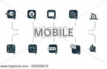 Mobile Icon Set. Contains Editable Icons Theme Such As Web App, Virtual Reality App, App Review And