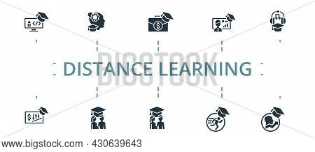 Distance Learning Icon Set. Contains Editable Icons Theme Such As Personal Growth Course, Project Ma