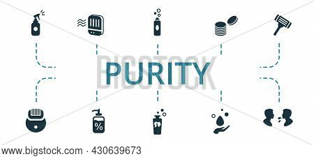 Purity Icon Set. Contains Editable Icons Theme Such As Pads, Shampoo, Epilator And More.