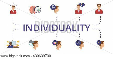 Individuality Icon Set. Contains Editable Icons Theme Such As Creative Mind, Logical Thinking, Behav