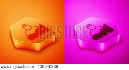 Isometric Growth Of Homeless Icon Isolated On Orange And Pink Background. Homelessness Problem. Hexa