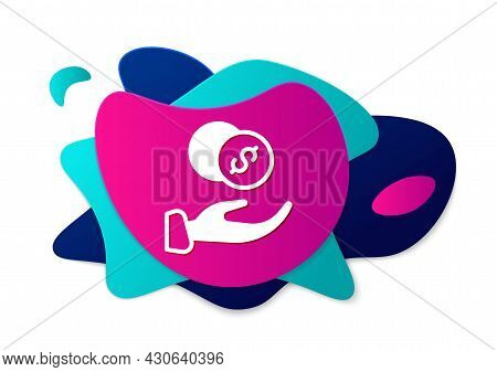 Color Donation Hand With Money Icon Isolated On White Background. Hand Give Money As Donation Symbol