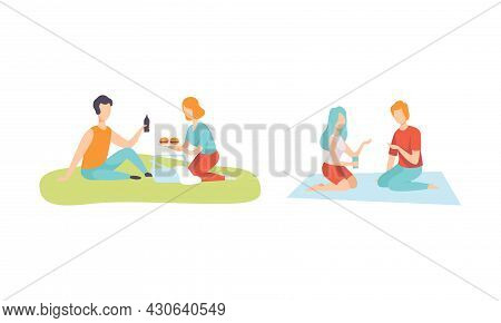 Romantic Couple Enjoying Picnic In Nature Sitting On Blanket And Eating Vector Set