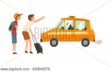 Man Passenger And Orange Taxi Cab Vector Illustration