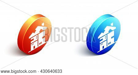 Isometric Homeless Cardboard House Icon Isolated On White Background. Orange And Blue Circle Button.