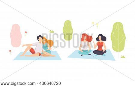 People Character Enjoying Nature Sitting On Blanket Embracing And Talking Vector Set