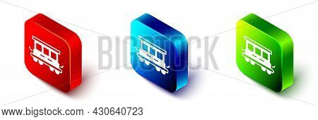 Isometric Passenger Train Cars Toy Icon Isolated On White Background. Railway Carriage. Red, Blue An