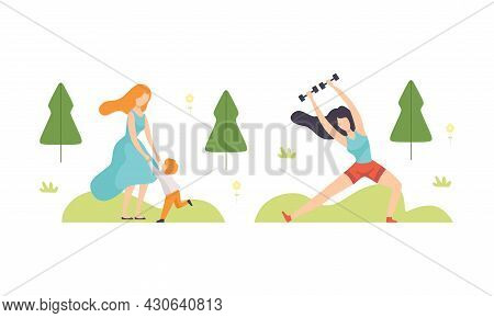 People Resting In Park With Woman Playing With Kid And Doing Physical Exercise Vector Set