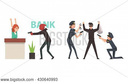 Bank Robbery With Masked Man With Pistol Threatening Victim And Police Officer Arresting Guy Committ