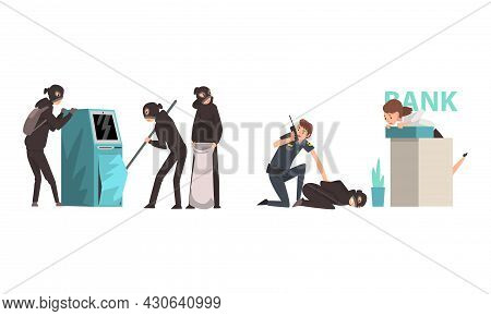 Bank Robbery With Masked Man Breaking Atm And Police Officer Arresting Guy Committing Crime Vector S