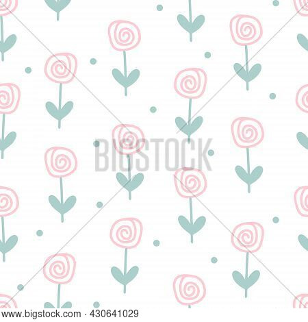 Pastel Flower Seamless Pattern Vector Illustration. Background With Spiral Flowers And Dots. Templat