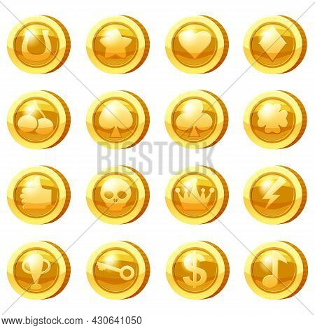 Set Of Golden Coins For Game Apps. Gold Icons Star, Heart, Clubs Hearts, Tambourine, Spades, Clover