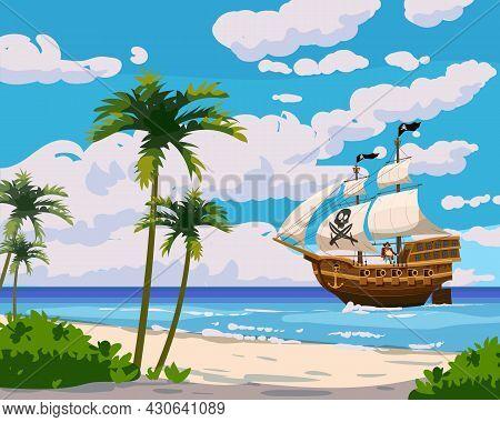 Tropical Island Pirate Ship Under Sail In Ocean, Treasure Tropical, Palms. Sea Landscape Coast, Beac