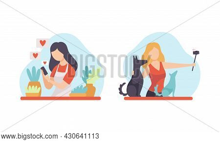 Woman Blogger Or Vlogger Making Video And Photo Content For Web Channel Vector Set