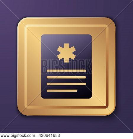 Purple Medical Clipboard With Clinical Record Icon Isolated On Purple Background. Prescription, Medi