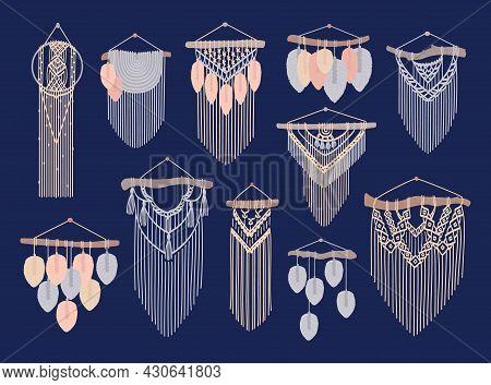 Macrame Vector Set. Cord Wall Decor, Wall Hangings. Scandinavian Handicraft Style. Handmade Knitted