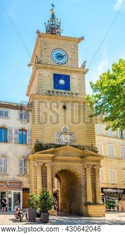 Salon De Provence, France - June 26,2021 - Clock Tower In The Streets Of Salon-de-provence. Salon Is