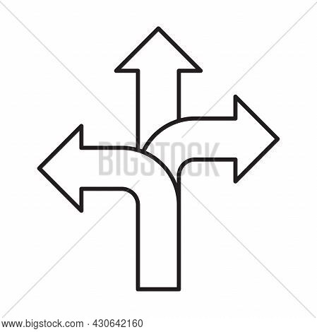 Three-way Direction Arrow Icon Vector, Road Direction Sign For Graphic Design, Logo, Website, Social