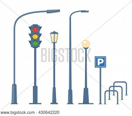 City And Outdoor Elements. Set Of Urban Objects. Street Lamps, Traffic Light, Bike Parking. Vector I