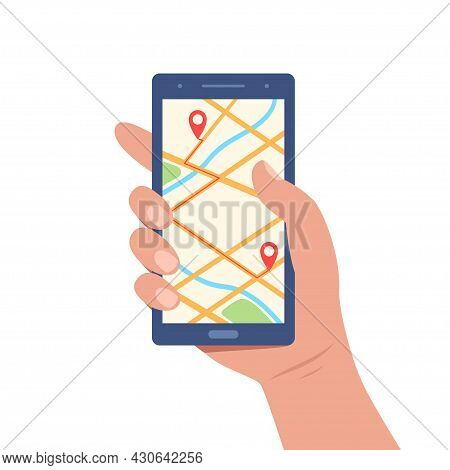Cellphone With Map On Screen In Human Hand. City Map Navigation App With Map And Location Pin. Mobil