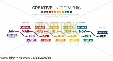 Business Infographics Template For 12 Months, 1 Year, Can Be Used For Business Concept With 12 Optio
