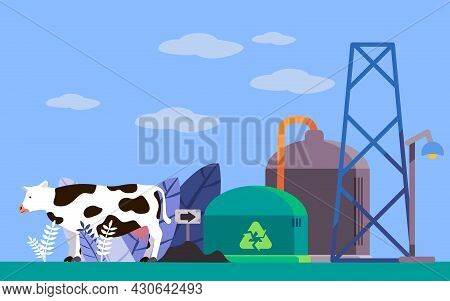 Biogas Technology Installation Which Produces Gas From Biological Activities Of Cows In Anaerobic Fe