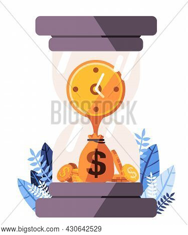 Sand Clock Dollars Time Icons Which Explain Time Value Of Money Where Money In The Present Is Worth