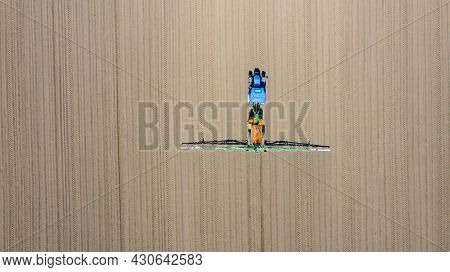 Above Top View, Overhead View On Tractor Until Spraying Big Endless Farmland Dragging Mounted Wide A