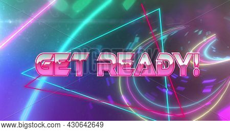 Image of image game screen with Get Ready! text in pink metallic letters with triangles and neon on glowing background. Retro image game concept digitally generated image.