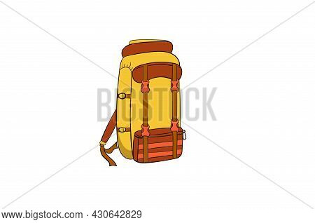 Backpack On White Background In Hand Drawn Style. Yellow And Red. Isolated Object On A White Backgro