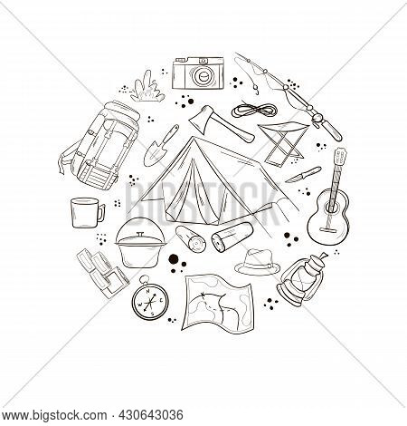 Camping And Travel Items Set. Hand Drawn Style. Items Are Arranged In A Circle. Hat, Canned Food Sle
