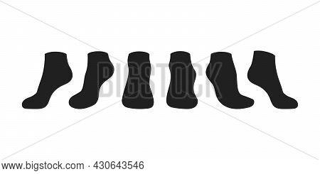Black Socks Template Mockup Flat Style Design Vector Illustration Isolated On White Background. Low