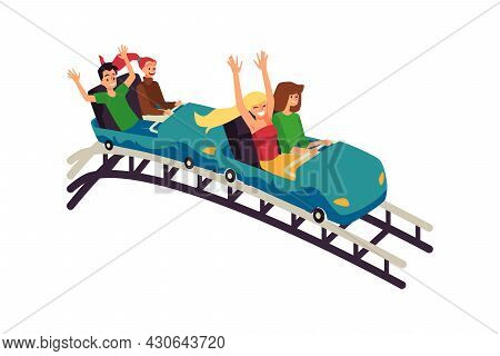 People In Rollercoaster Screaming And Laughing Flat Vector Illustration Isolated.