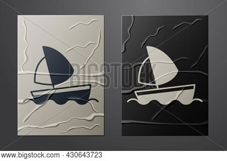 White Yacht Sailboat Or Sailing Ship Icon Isolated On Crumpled Paper Background. Sail Boat Marine Cr