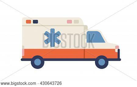 Ambulance Car With Star Of Life Emblem. Medical Emergency Vehicle. Side View Of Paramedic Van. Rescu