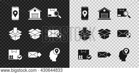 Set Mobile With App Delivery Tracking, Warehouse, Search Package, Package Box Check Mark, Envelope,